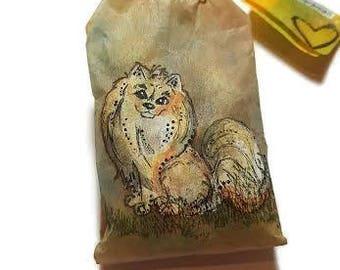 Pomeranian Dog Art, Pom Pom Art, Altered Paper Art, Dog Lover Art, Pomeranian Acrylic, Miniature Dog Art, Jasmine Sachet, Teabag Dog Art
