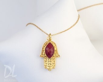 Gold Hamsa Hand Necklace, Ruby Necklace, July Birthstone Necklace, Good Luck Hand Necklace