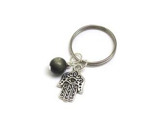 Hamsa Evil Eye Talisman Obsidian Gemstone Keychain Ring, Budget Hostess Gift for Coworkers Friends, Bohemian birthday, wedding party favors