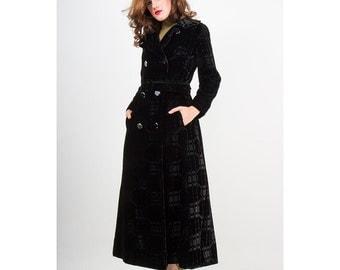 Velvet maxi coat / 1970s Vintage black velvet burnout evening coat / Count Romi