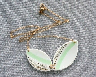 Geometric Mint and Gold Necklace Recycled China Jewelry Material and Movement