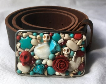 Day of the Dead Red Rose, Skull and Turquoise Belt Buckle