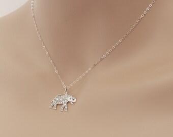 Elephant Necklace, Decorated Elephant , Elephant Jewelry, Art Elephant, Sterling Silver, Elephant Pendant, Etched Elephant, BeadXS, Gift