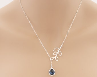 Lariat Silver Leaf Blue Sapphire Necklace Tear Drop Birthstone Birthdays Weddings Special Occasions