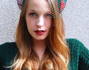 Scottish Tartan Crown Fascinator with Green Veil