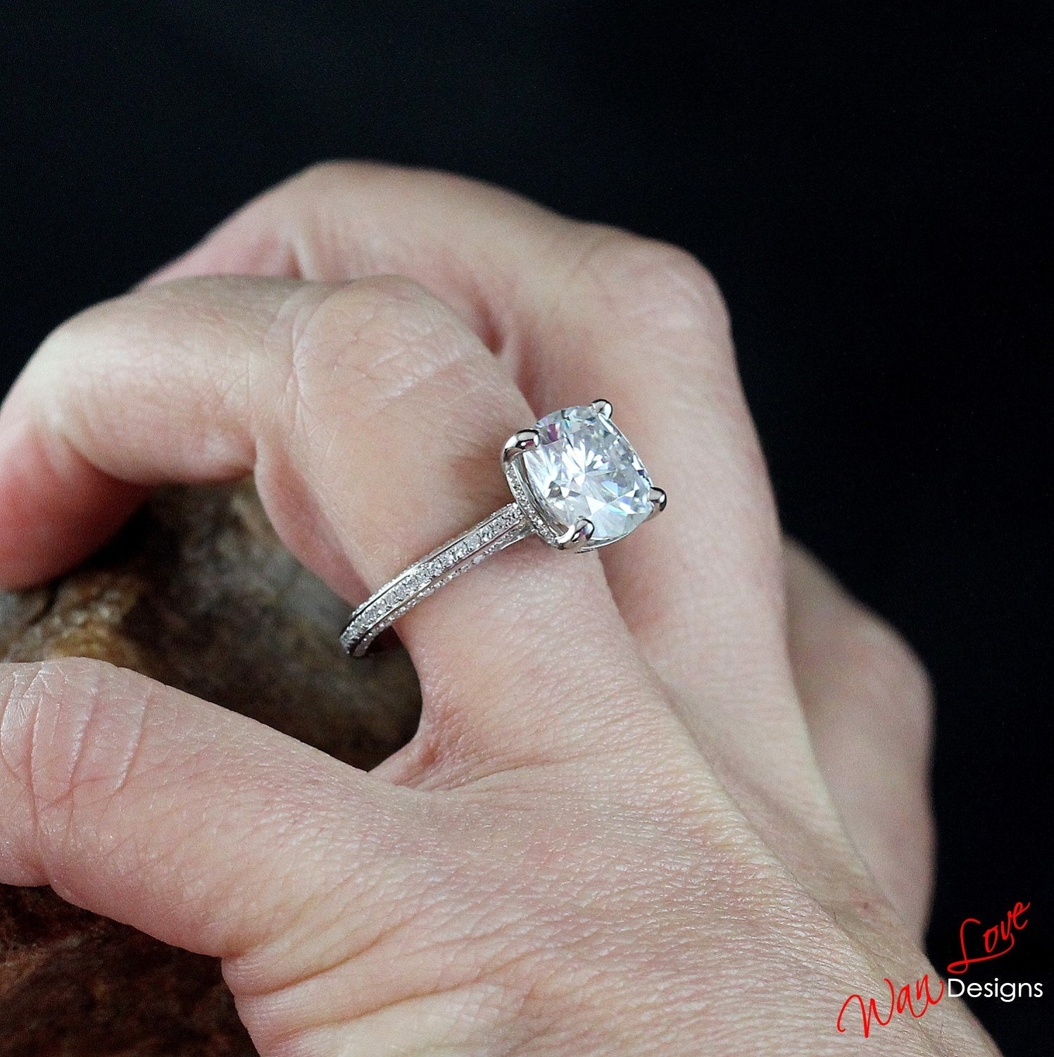 Forever e Moissanite & Diamond Cushion Engagement Ring 3
