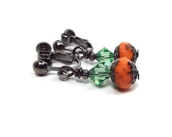 Green and Orange Clip on Earrings Screw Back with Czech Beads and Green Crystals Fall Fashion Autumn Jewelry Halloween