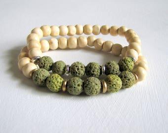 Sage Green Lava Stone Bracelet Aromatherapy Bracelet Wood Bracelet Essential Oil Diffuser Bracelet Boho Colorful Wood Stretch Bracelet Yoga