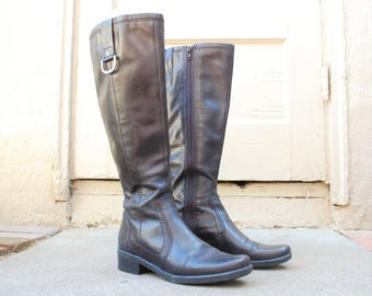 Vintage Womens 6.5 Bandolino Black Leather Tall Side Zip Bond Military Combat Riding Boots Boot Spring Fashion Hipster Motorcycle Boho Biker