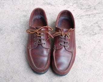 Vintage Mens 10.5m GH Bass and Company Classic Tie Sneakers Brown Leather Shoes Oxfords Brogues Boat Deck Shoes