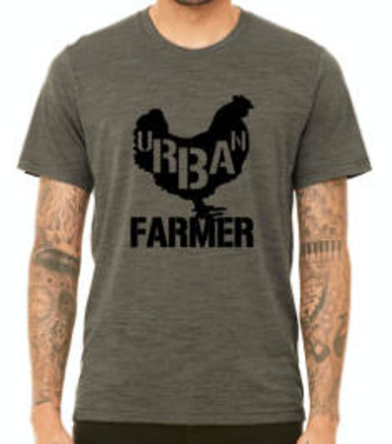 URBAN chicken FARMER Unisex t-shirt pictured in Olive Slub