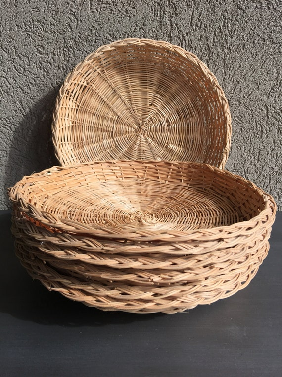 vintage wicker paper plate holders woven bamboo set 10. Black Bedroom Furniture Sets. Home Design Ideas