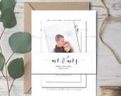 Wedding Invitation Belly Band Wrap, Printable Template, Wedding Belly Band, Invitation Wrapper, Mr and Mrs, DIY Editable PDF Printable File