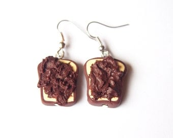 Chocolate Toast Earrings (nutella toast miniature food nutella earrings miniature toast polymer clay jewerly funny jewelry food earrings)