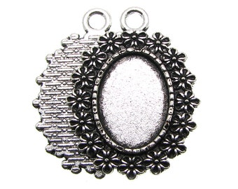 Cabochon Settings : 10 Oval Antique Silver Cabochon Settings / Bezels ... Holds 18x13mm Cabochon -- Lead, Nickel & Cadmium Free 72653.H2F