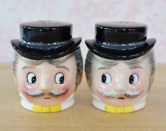 Vintage 1950s Salt and Pepper Shakers of Mustache Gentlemen by PY Norcrest