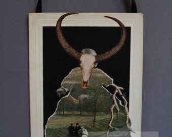 One of a Kind Altered Cabinet Card Art Mixed Media Collage, Unusual Wall Decor of Baby with Cow Skull and Horns