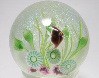 Vintage Signed Limited Edition Daniel Salazar Lundberg Studios Angel Fish Art Glass Paperweight, Salazar Lundberg Aquarium Art Glass