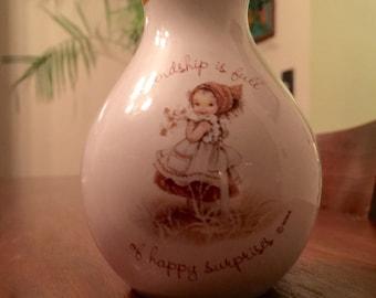 Small Vintage Gretchen Stoneware Friendship is Full of Surprises Vase 1977 Holly Hobbie Hummel Style