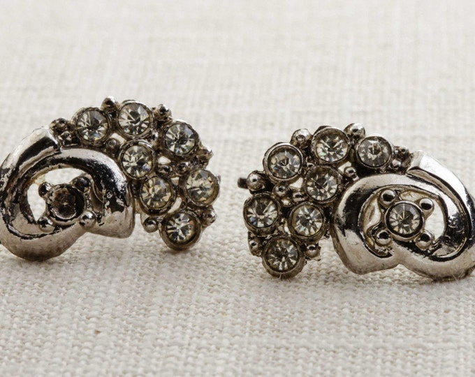 Vintage Rhinestone Earrings Clip On Silver Abstract Swirl Design Clipons | Vtg 7B