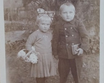 Antique Real Photo Postcard Small Children Circa 1920s RPPC Leonar No Stamp Box German Post Card Boys and Girls Brother and Sister Buddies