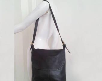Black Coach Whitney Bag 90s Vintage Large Leather Crossbody Hobo Shoulder Bag 80s Legacy Leather Coach Purse Brass Buckle Cross Body Bag