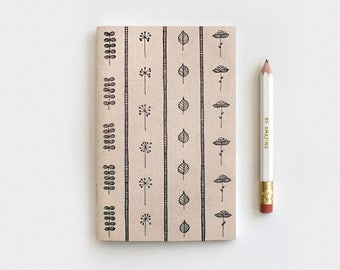 Mothers Day Gift, Gardening Gift Brown Recycled Journal & Pencil Set, Illustrated Leaves and Flowers - Stocking Stuffer Floral Journal