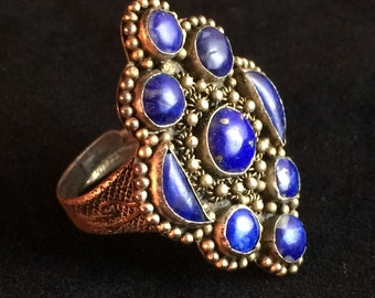 Antique Adjustable Lapis Cluster Ring Chinese Export