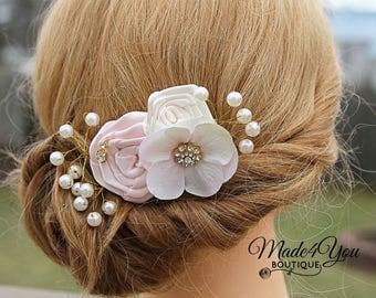 Blush Ivory Bridal Hair Comb - Pearl Jeweled Hair Comb - Wedding Hair Comb