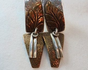 Vintage Sterling Silver / Copper Earrings 7.5 Grams Tested 925 Retro Boho Pierced Native