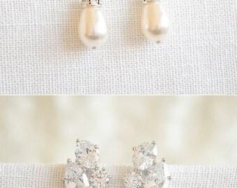 Swarovski Pearl Bridal Earrings, Crystal Wedding Earrings, Art Deco Style Dangle Earrings, Pearl Drop Earring, Wedding Bridal Jewelry,YVONNE