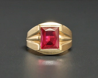 "Art Deco 10K Ruby Ring ""Kimberly Gem Co."" Yellow Gold Size 9.75"