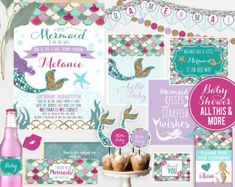 Mermaid Baby Shower Invitations And Decorations, Under The Sea Shower, Girl Baby  Shower,