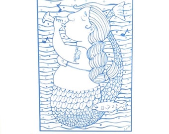 Whimsical Blue Mermaid Print by Suzanne Urban