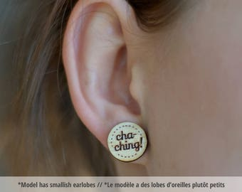 Cha-ching wood earring studs. Wood earrings, cha-ching studs, hypoallergenic surgical steel, motivational jewelry, lucky charm earrings wood