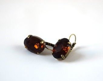 Brown Topaz Earrings, Brown Crystal Earrings, Chocolate Brown Rhinestone Earrings, 18th Century Jewelry, Earthy Earring Rhinestone, Georgian