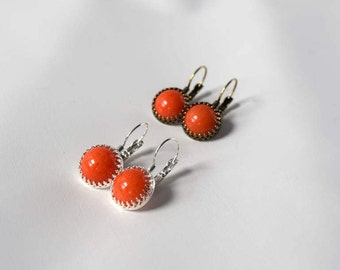 Glass Coral Dangle Earrings, Regency Earrings, Orange Coral Jewelry, Historical Jewelry, Reenactor Jewelry, Orange Coral Earrings, Faux