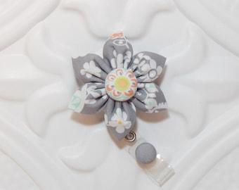 Retractable Badge Holder - Id Badge Reel - Badge Holder - Teacher Lanyard - Gray Print