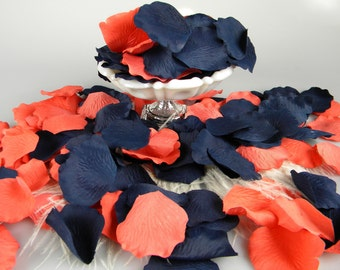Coral and Blue Rose Petals | 200 Artificial Petals | Coral & Navy Wedding | Blueberry Blue Coral | Flower Tossing  Petals - Table Scatter