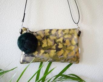 Leather handbag,crossbody bag,camo print,suede leather,leather purse bag,camouflage print,brown leather bag,golden clutch,shinny clutch