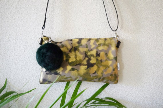 Leather handbag,crossbody bag,camo print,suede leather,leather purse bag,camouflage print,brown leather bag,golden clutch,shinny clutch