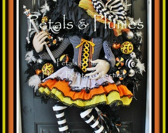 "PRE-Order for 2017 Delivery-Halloween Wreath-Original ""Flying Candy Corn Witch Wreath"" Petals & Plumes ORIGINAL -54"" Tall-FINAL Listing"