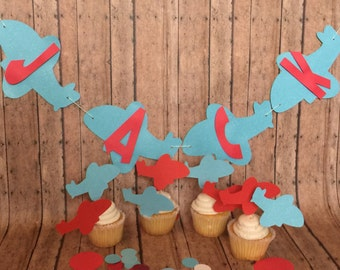 Airplane cupcake topper with airplane banner,aviator banner,red and blue airplane party decor airplane name banner  with table scatter.