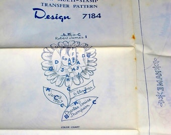 Vintage 1960s Mail Order Embroidery Craft Pattern 7184 Baby Birth Announcement Hot Iron Sampler Transfer Flower Petal Face Names Dates Uncut