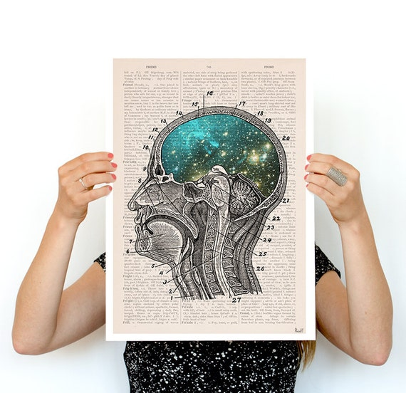 Spring Sale Cosmic Brain Human Anatomy Art Anatomical art prints, wall art poster, galaxy art, A3 poster size , Galaxy art  PSK116