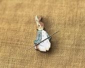 2 LEFT Blue Benjamin Bunny needle minder Beatrix Potter by The Cottage Needle at thecottageneedle.com Easter Spring gardening nursery story