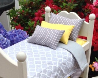 Doll bedding ONLY for American Girl or Boy grey quatrefoil