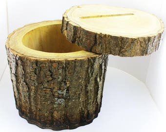 Log Stump Wedding Card Box. RENT or BUY!