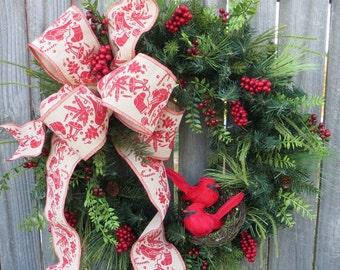 Christmas Wreath Winter Wreath Red Bird Wreath Cardinal Wreath Red Birds Berries Greenery Door Wreath with Christmas Birds