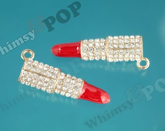 1 - 3D Rhinestone Red Lipstick Enamel Kawaii Pendant Charm, Lipstick Charm, Lip Gloss Charm, 50mm (R9-030)